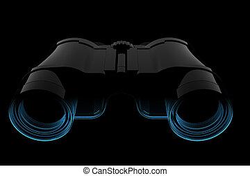 binoculares, radiografía, azul,  (3d,  transparent)
