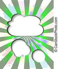 Paper clouds vintage abstract background with sun rays