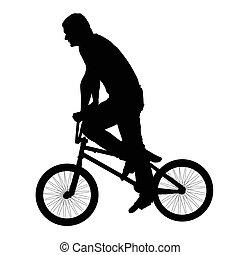 pretas, bicicleta, silueta, jovem, homem