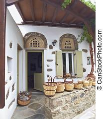 home shop selling rattan baskets, Tinos island, Greece