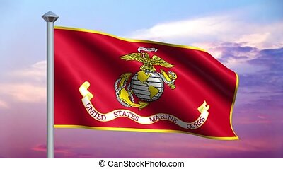 US Marine Corps Flag Loop - Seamless loop features the flag...