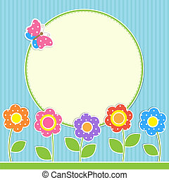 Round frame with flowers and butterfly