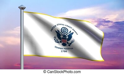US Coast Guard Flag Loop - Seamless loop features a US Coast...