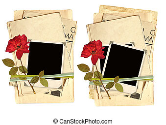 Collection old cards for scrapbooking