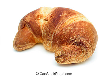 Italian brioche or french croissant isolated over white....