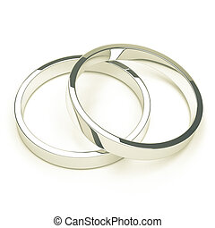 silver or platinum wedding rings - A pair of isolated silver...