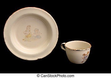 Antique Child's Enamel Plate And Cup
