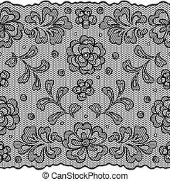 Lace fabric seamless border with abstract flowers