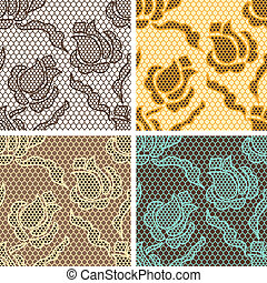 Set of lace seamless patterns with abstract flowers