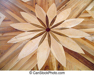 Flower on a parquet - Old wooden parquet with a flower...