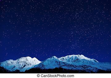 Gangapurna and Annapurna mountains on the blue sky with...