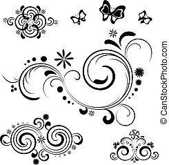 Floral design elements with butterflys Black on the white