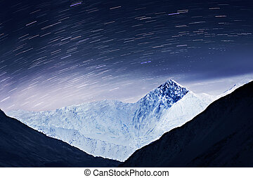 Milky way and mountains landscape