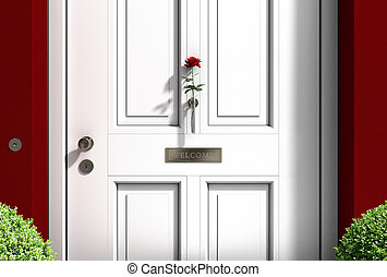 metaphorical welcome image showing a classical door with...