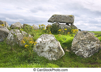 Dolmen at Carrowmore megalithic cemetary - Ancient...