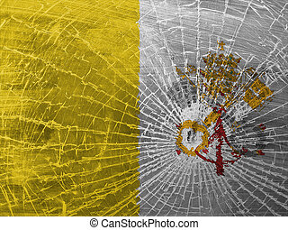 Broken glass or ice with a flag, Vatican City - Isolated...