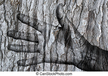 Abstract, painting of a hand in a tree, isolated