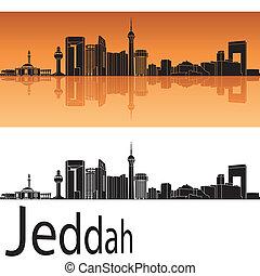 Jeddah skyline in orange background in editable vector file
