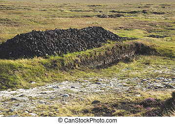 Irish peat bog - Peat bog in Achill Island, County Mayo,...