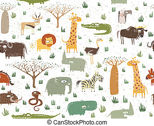 Grunge African Animals Seamless Pattern is repeated; with...