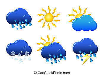Weather icon sign set isolated on white vector