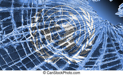 Broken glass or ice with a flag, United Nations - Isolated...
