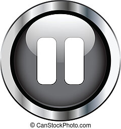 Black pause button - Black pause on silver button