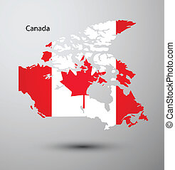 Canada flag on map of country