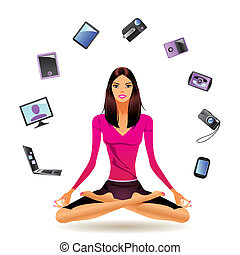 Sporty fashion model shows electronics - vector illustration