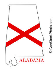 alabama - Alabama outline and state flag illustration