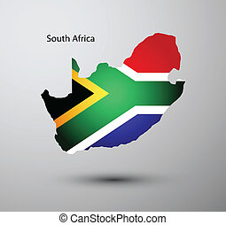 South Africa flag on map