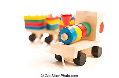 wooden educational toys. colorful train isolated on white...