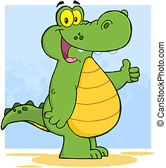 Alligator Showing Thumbs Up - Happy Alligator Or Crocodile...