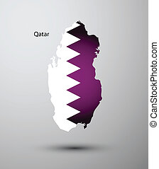 Qatar flag on map of country
