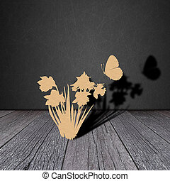 Paper flower on wood