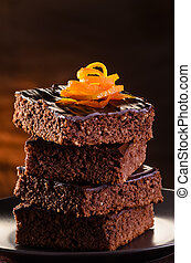 Chocolate Brownie - Homemade Chocolate Brownie on a dark...