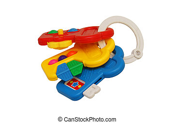 Children's toy rattle with three keys. Yellow, blue, red....