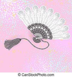 fan, vintage vector background - Vector illustrative image...