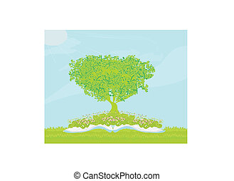 Book with tree on natural background.