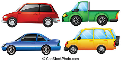Four cars with different colors - Illustration of four cars...