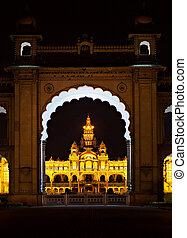Mysore palace at night, Mysore, India