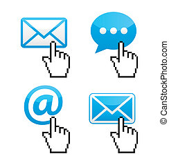 Contact - envelope with cursor hand - Contact icon set with...