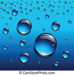 Water drops blue, vector background