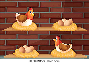 Two hens laying eggs at the wooden shelves - Illustration of...