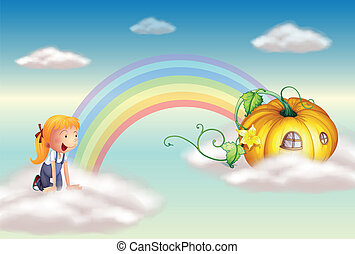 A girl seeing a squash at the end of the rainbow