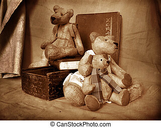 Teddy 2 - Photo of collection bears. They sit on a table in...