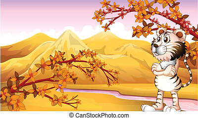 View of the mountain during autumn - Illustration of the...