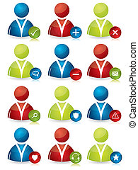 People icons with features - Various colored social people...