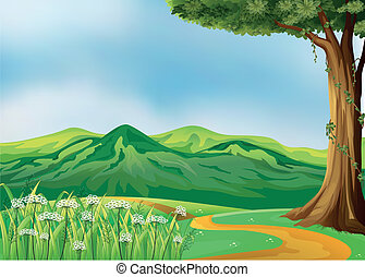 A pathway at the hills - Illustration of a pathway at the...