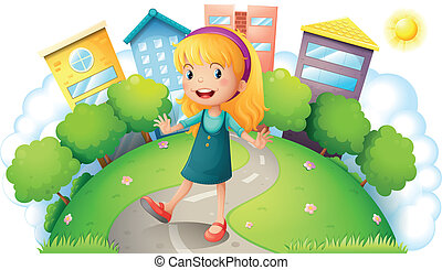 A girl at the top of the hill with buildings